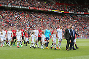 Michael Carrick All-Stars Manager Harry Redknapp and Manchester United 08 XI Manager Sir Alex Ferguson lead teams out during the Michael Carrick Testimonial Match between Manchester United 2008 XI and Michael Carrick All-Star XI at Old Trafford, Manchester, England on 4 June 2017. Photo by Phil Duncan.