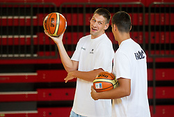 Gasper Vidmar and Jure Balazic during training camp of Slovenian National basketball team for Eurobasket 2013 on July 19, 2013 in Sports hall Rogatec, Slovenia. (Photo by Vid Ponikvar / Sportida.com)