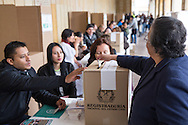 Bogota, Cundinamarca, Colombia - 02.10.2016        <br /> <br /> Polling station of the Colombian peace contract referendum at  Palza de Bolivar in Bogota. The Colombian citizens voting if the peace treaty negotiated between the government and the left FARC guerrilla becomes valid. The FARC has been in war with the Colombian government for 52 years.<br />  <br /> Wahllokal zum kolumbianischen Friedensvertrags-Referendum am Plaza de Bolivar in Bogota. Die kolumbianische Bev&ouml;lkerung stimmt dar&uuml;ber ab ob der ausgehandelte Friedensvertrag zwischen der Regierung und der linken FARC Guerilla gueltig wird. Die FARC befindet sich seit 52-Jahren im Krieg mit der kolumbianschen Regierung. <br /> <br /> Photo: Bjoern Kietzmann