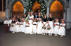CLEMENTINE HAMBRO and ORLANDO FRASER with their attendents at the wedding of Clementine Hambro to Orlando Fraser at St.Margarets Westminster Abbey, London on 3rd November 2006.<br />