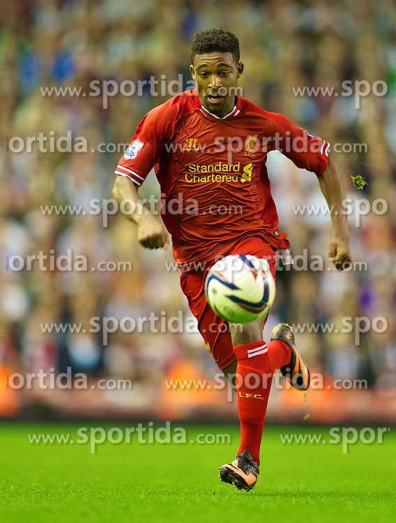 27.08.2013, Anfield, Liverpool, ENG, League Cup, FC Liverpool vs Notts County FC, 2. Runde, im Bild Liverpool's Jordon Ibe in action against Notts County during the English League Cup 2nd round match between Liverpool FC and Notts County FC, at Anfield, Liverpool, Great Britain on 2013/08/27. EXPA Pictures &copy; 2013, PhotoCredit: EXPA/ Propagandaphoto/ David Rawcliffe<br /> <br /> ***** ATTENTION - OUT OF ENG, GBR, UK *****