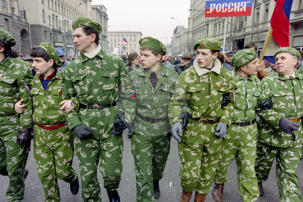Russian soldiers march in support of President Boris Yeltsin to Red Square March 28, 1993 in Moscow, Russia. The supporters marched through central Moscow ending in Red Square where Yeltsin addressed the crowd.