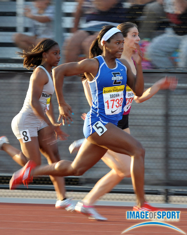 Apr 7, 2012; Arcadia, CA, USA; Aaliyah Brown of Lincolnway East wins the girls 100m in 11.48 in the Arcadia Invitational at Arcadia High.