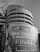 London, Great Britain,   &quot;Signage  2015 Rugby World Cup Final. New Zealand vs Australia,, Twickenham Stadium,London. England,, Saturday  31/10/2015. <br /> [Mandatory Credit; Peter Spurrier/Intersport-images] Black and White Film, Kodak Tri-X [rated 320 ASA], Camera Contax G2 with Ziess 28mm f2.0.
