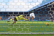 Fernando Forestieri of Sheffield Wednesday scores penalty to make it 1-1 during the Sky Bet Championship match between Sheffield Wednesday and Wolverhampton Wanderers at Hillsborough, Sheffield, England on 20 December 2015. Photo by Ian Lyall.