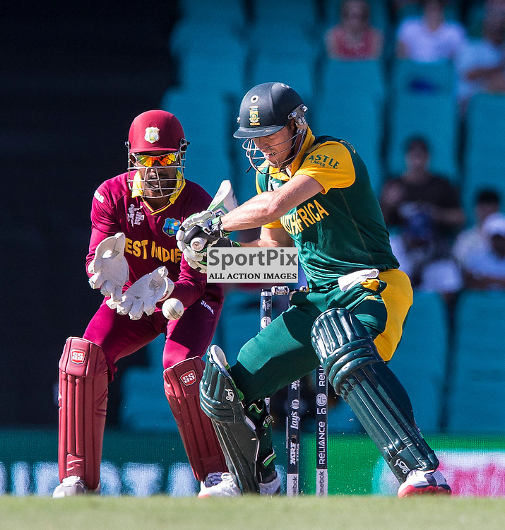 ICC Cricket World Cup 2015 Tournament Match, South Africa v West Indies, Sydney Cricket Ground; 27th February 2015<br /> South Africa&rsquo;s AB De Villiers about to smash a ball from West Indies Chris Gayle