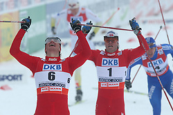 Winner and the world champion Ola Vigen Hattestad of Norway (6), second placed Johan Kjoelstad of Norway and third placed Nikolay Morilov of Russia at Men`s Sprint Free Finals Cross-country race at  FIS Nordic World Ski Championships Liberec 2008, on February 24, 2009, Vestec, Liberec, Czech Republic. (Photo by Vid Ponikvar / Sportida)