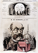 Otto von Bismarck (1815-1904) Prussian (German) statesman. Chancellor of new German empire 1866-1890. Gill cartoon published in 'La Lune' Paris 1867 showing Bismarck as cat with mousetrap. Coloured engraving