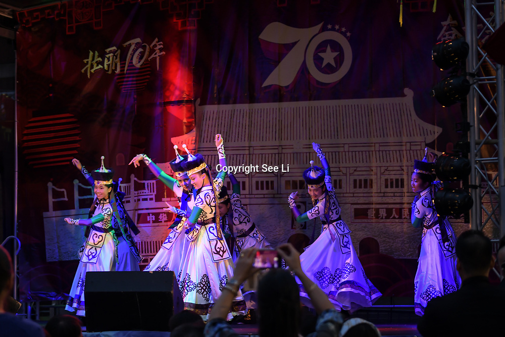 London Chinatown Chinese  Association host a Celebration of the Moon festival - The big feast for the chinese community and the 70th Anniversary of China at Chinatown Square on the 15th September 2019, London, UK.
