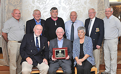 Westport Lions Club made a presentation recently to Ernie Deacy former President of Westport Lions Club 1996-1998, In appreciation of his long standing commitment & contribution to Athletics in the community. <br /> Pictured in front Michael Downes, Ernie and Angela Deacy, At back TJ Hughes, Sean O'Malley, Bert Farrell, Mikey Berry, Michael Moran and Jock Jackson.<br /> Pic Conor McKeown
