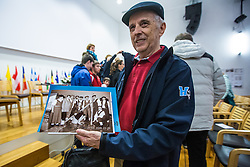 Introducing almanac at anniversaty for 40 years of skiing competition Pokal Loka in Sokolski dom, Skofja Loka, Slovenia on 9 December 2015. Photo By Grega Valancic / Sportida