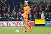 AFC Wimbledon goalkeeper George Long (1) with ball at his feet during the EFL Sky Bet League 1 match between AFC Wimbledon and Scunthorpe United at the Cherry Red Records Stadium, Kingston, England on 7 April 2018. Picture by Matthew Redman.