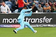 Wicket - Jofra Archer of England catches Mosaddek Hossain of Bangladesh during the ICC Cricket World Cup 2019 match between England and Bangladesh the Cardiff Wales Stadium at Sophia Gardens, Cardiff, Wales on 8 June 2019.