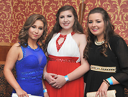Pictured at the recent Tranistion Year Ball held at Hotel Westport were O' Jade O'Haire, Emma Doyle and Louise O'Grady.<br /> Pic Conor McKeown