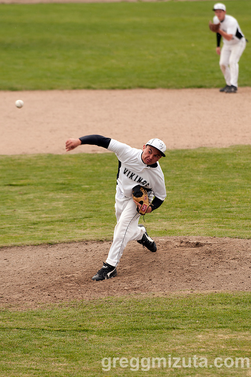 Vale junior Shadd Samio delivers a pitch during the second game of a doubleheader between Vale and Nyssa on April 15, 2011 at Nyssa High School. Samio struck out eight and gave up four hits in seven innings in the 6-1 Vale win.