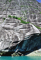 The horizontal scars on this cliff side are the result of the foreward movement of Sawyer Glacier in Tracy Arm, Alaska.