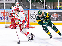 2020-01-17 | Umeå, Sweden:Timrå (7) Marcus Hardegård chased by Björklöven (44) Olle Liss in HockeyAllsvenskan during the game  between Björklöven and Timrå at A3 Arena ( Photo by: Michael Lundström | Swe Press Photo )<br /> <br /> Keywords: Umeå, Hockey, HockeyAllsvenskan, A3 Arena, Björklöven, Timrå, mlbt200117
