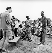 Afro singing and dancing, at Glastonbury, 1989.