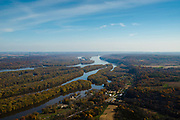 Aerial view of the Mississippi River south of Dubuque, iowa.