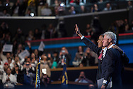 President Barack Obama and former President Bill Clinton wave after Clinton's speech at the Democratic National Convention on Wednesday, September 5, 2012 in Charlotte, NC.