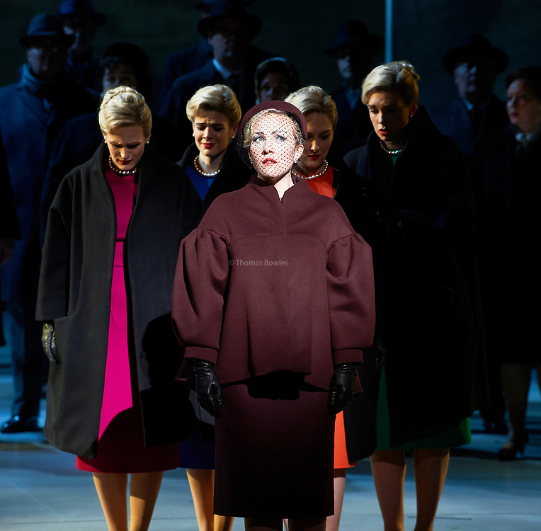 EMBARGOED UNTIL 18th NOVEMBER AT 7:30PM. English National Opera presents Nico Muhly&rsquo;s &ldquo;Marnie&rdquo; at the London Coliseum.<br /> <br /> Sasha Cooke (Marnie), Daniel Okulitch (Mark Rutland), James Laing (Terry Rutland), Lesley Garrett (Mrs Rutland), Kathleen Wilkinson (Marnie&rsquo;s mother), Diana Montague (Lucy, Marnie&rsquo;s mother&rsquo;s neighbour), Alasdair Elliott (Mr Strutt), Eleanor Dennis (Laura Fleet), Matthew Durkan (Malcolm Fleet), Darren Jeffery (Dr Roman), Alexa Mason(Dawn, secretary at Halcyon Printing), Charlotte Beament (shadow Marnie), Katie Coventry (shadow Marnie), Emma Kerr (shadow Marnie), Katie Stevenson (shadow Marnie), Leo Sellis (little boy), David Newman (Derek), Susanna Tudor-Thomas (Miss Fedder, office supervisor), Ella Kirkpatrick (Marnie&rsquo;s mother, 1940).