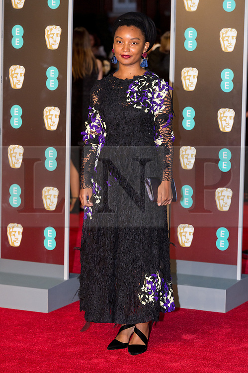 © Licensed to London News Pictures. 18/02/2018. RUNGANO NYONI arrives on the red carpet for the EE British Academy Film Awards 2018, held at the Royal Albert Hall, London, UK. Photo credit: Ray Tang/LNP