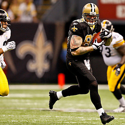Oct 31, 2010; New Orleans, LA, USA; New Orleans Saints tight end Jeremy Shockey (88) is pursued by Pittsburgh Steelers safety Troy Polamalu (43) during the second half at the Louisiana Superdome. The Saints defeated the Steelers 20-10.  Mandatory Credit: Derick E. Hingle