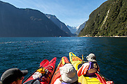 Rafting up in Milford Sound