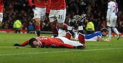 Dimitar Berbatov (Man Utd)  celebrates after scoring fourth goal during the Barclays Premier League match between Manchester United and Blackburn Rovers at Old Trafford on November 27, 2010 in Manchester, England.