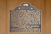 The California historical landmark plaque in Yosemite Village, Yosemite National Park, California