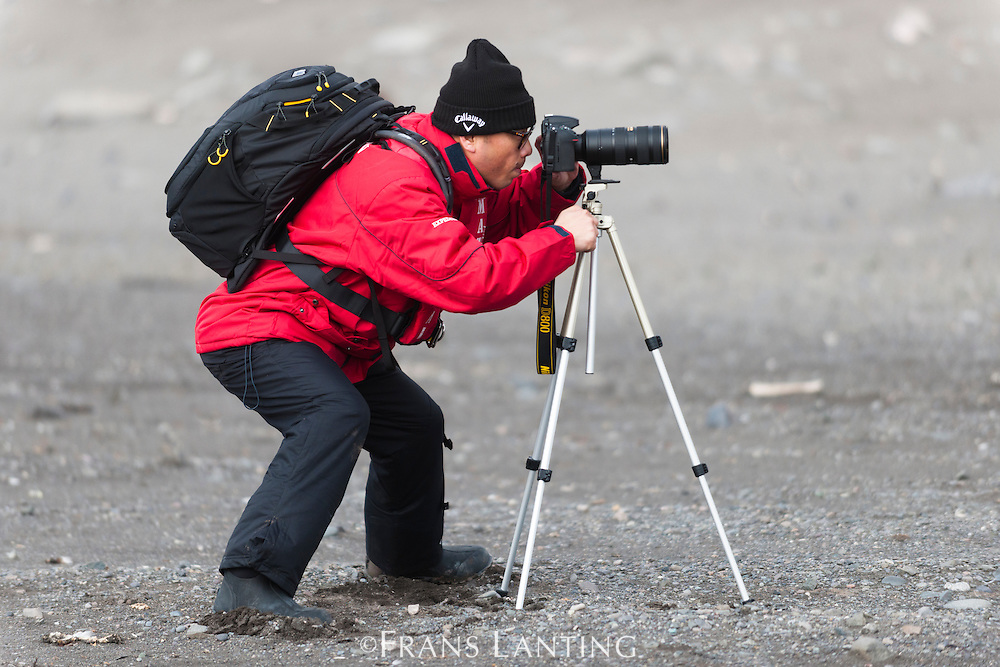 Chinese tourist Qiu Pu taking photos, Antarctica