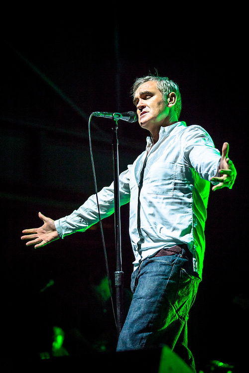 MORRISSEY live at Palladium Cologne during &quot;The World Peace Is None of Your Business&quot; Tour 2015. The lyricist and vocalist of the former rock band The Smiths is  an important innovator in the indie music scene and known for his contrarian opinions and as a fiercful an animal protectionist.<br />