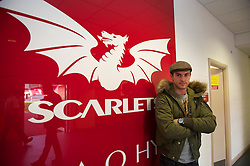 LLANELLI, WALES - Wednesday, August 11, 2010: Wales' injured midfielder Aaron Ramsey visits the Scarlets' stadium before an international friendly match against Luxembourg at Parc y Scarlets. (Pic by David Rawcliffe/Propaganda)