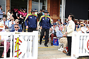 Umpires Robert Bailey and Martin Saggers lead the teams out during the Royal London One-Day Cup final  between Somerset County Cricket Club and Hampshire County Cricket Club at Lord's Cricket Ground, St John's Wood, United Kingdom on 25 May 2019.