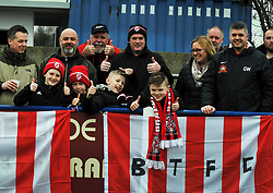 BRACKLEY FANS BEFORE KICK OFF, Wealdstone FC v Brackley Town Buildbase FA Trophy Semi Final 2nd Leg, Saturday 24th March 2018, Score 0-2 (Byrne, Williams,) <br /> Photo:Mike Capps