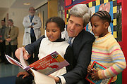 REACH OUT AND READ.Boston, MA.Senator John Kerry reads to children at the Pediatric Unit at BMC