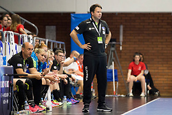 Uros Bregar, head coach of Slovenia during handball match between Women national teams of Slovenia and Denmark in Round #5 of Qualifications for Women's EHF EURO 2018 Championship in France, on May 30, 2018 in Sports hall Golovec, Celje, Slovenia. Photo by Urban Urbanc / Sportida