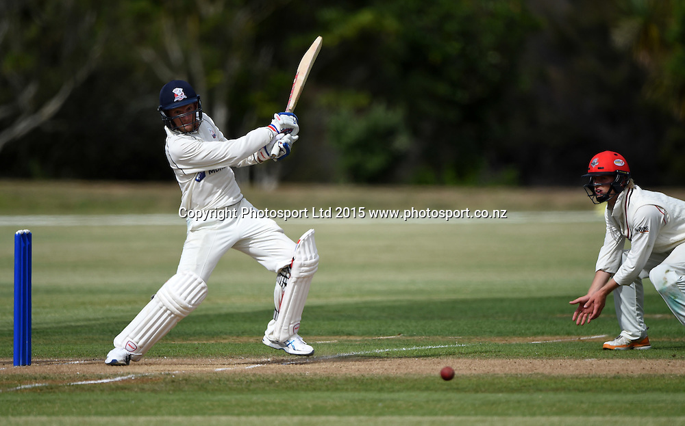 Auckland's Donovan Grobbelaar batting during the Plunket Shield 4 day cricket match between Auckland and Canterbury at the Colin Maiden Oval, Auckland, New Zealand. Tuesday 3 March 2014. Copyright Photo: Andrew Cornaga / www.Photosport.co.nz