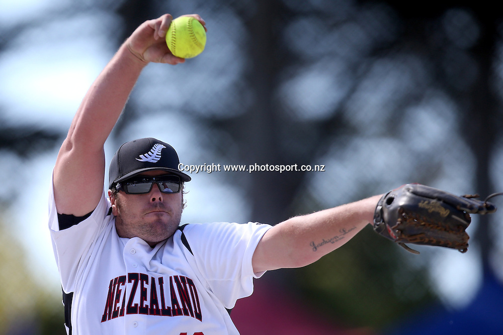 Regan Manley of the Black Sox pitches during game two of the Trans Tasman Softball Series between the New Zealand Black Sox and the Australian Steelers at Tradestaff Rosedale Park in Albany, Auckland on 29 March 2014. Photo: Jason Oxenham / www.photosport.co.nz