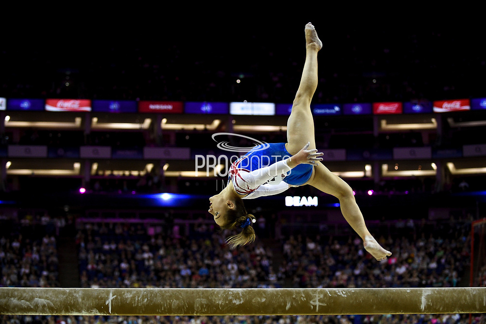 Amy Tinkler of Great Britain (GBR) on the beam on her way to winning the women's bronze during the iPro Sport World Cup of Gymnastics 2017 at the O2 Arena, London, United Kingdom on 8 April 2017. Photo by Martin Cole.