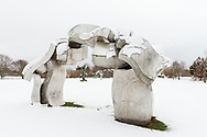 Sculpture by Hans Van de Bovenkamp,  Susan, and Louis K. Meisel Sculpture Garden in the Winter, Sagaponack, NY