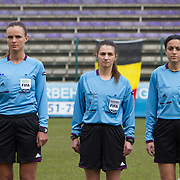 21120413 - HARELBEKE, BELGIUM : The referees are pictures here during the Second qualifying round of U17 Women Championship between Switzerland and Belgium on Friday April 13th, 2012 in Harelbeke, Belgium.