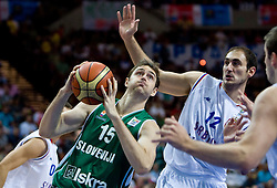Erazem Lorbek (15) of Slovenia and Nenad Krstic of Serbia during the EuroBasket 2009 Semi-final match between Slovenia and Serbia, on September 19, 2009, in Arena Spodek, Katowice, Poland. Serbia won after overtime 96:92.  (Photo by Vid Ponikvar / Sportida)