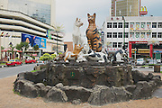 """KUCHING, MALAYSIA - AUGUST 26, 2009: Cats monument at the downtown, Kuching, Malaysia. Due to abundance of cats in the area Kuching is often called  """"The cats city""""."""