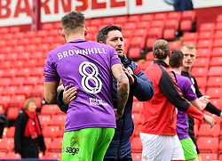 Bristol City head coach Lee Johnson hugs Josh Brownhill of Bristol City - Mandatory by-line: Robbie Stephenson/JMP - 30/03/2018 - FOOTBALL - Oakwell Stadium - Barnsley, England - Barnsley v Bristol City - Sky Bet Championship