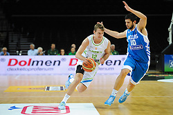 Zoran Dragic of Slovenia vs Konstantinos Papanikolao of Greece during friendly match between National Teams of Slovenia and Greece before World Championship Spain 2014 on August 17, 2014 in Kaunas, Lithuania. Photo by Robertas Dackus / Sportida.com