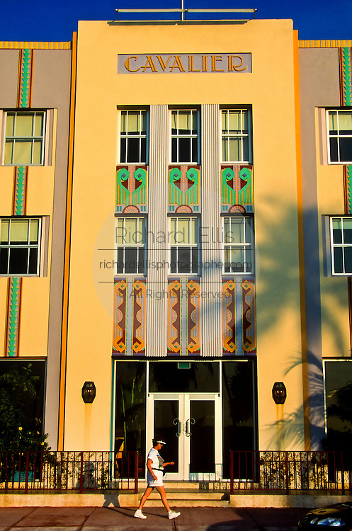Art deco building the Cavalier on South Beach in Miami, FL.