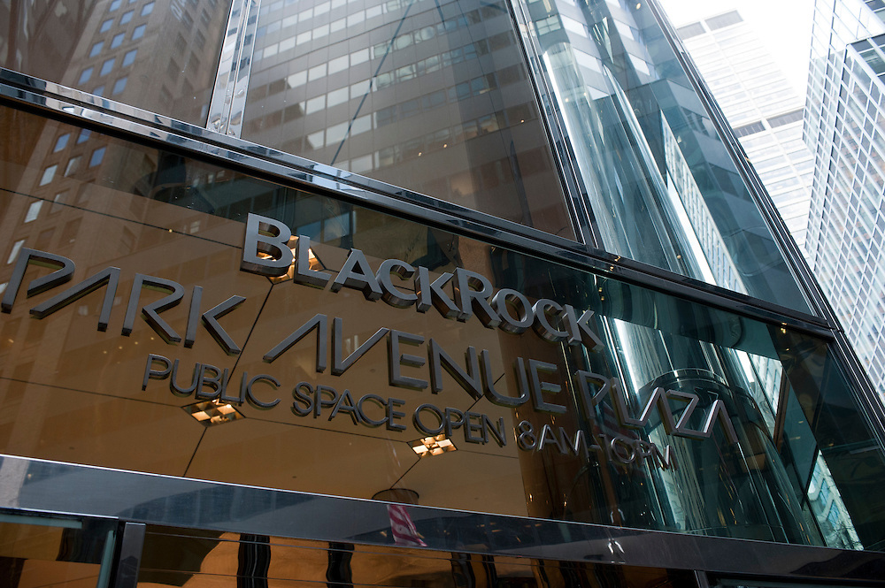 BlackRock headquarters on 52nd street in Manhattan, New York City. The company occupies many floors in two buildings on the same block..Blackrock is the world's largest money managing company. According to Fortune magazine 'With more than $3 trillion in assets, Larry Fink and his team at BlackRock are the world's largest money managers'.