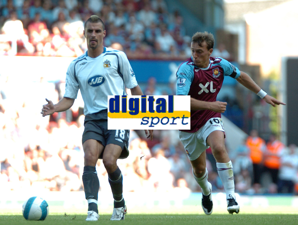Photo: Tony Oudot.<br /> West Ham United v Wigan Athletic. The FA Barclays Premiership. 25/08/2007.<br /> Paul Scharner of Wigan with Mark Noble of West Ham