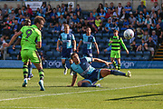 Forest Green Rovers Christian Doidge(9) heads the ball misses the target during the EFL Sky Bet League 2 match between Wycombe Wanderers and Forest Green Rovers at Adams Park, High Wycombe, England on 2 September 2017. Photo by Shane Healey.